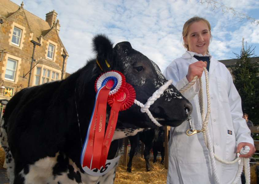 Uppingham Christmas Fatstock Show. Charlotte Davies, 17, with 'Champion Beast' Polkadot.'Photo: MSMP271113-017ow ENGEMN00120131127171009