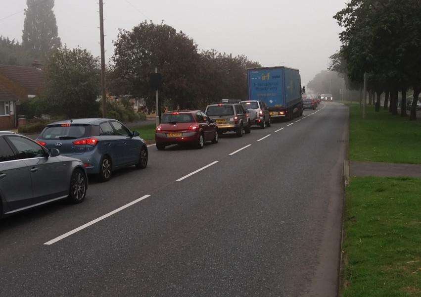 Traffic queued on Harlaxton Road after the serious accident on the A1 between the A607 and the A52.