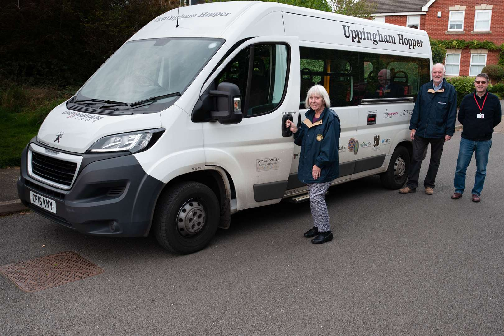 Margaret Simpson, David Ainsely and Richard Holman from the Uppingham Hopper Bus.Photo: Alan Walters