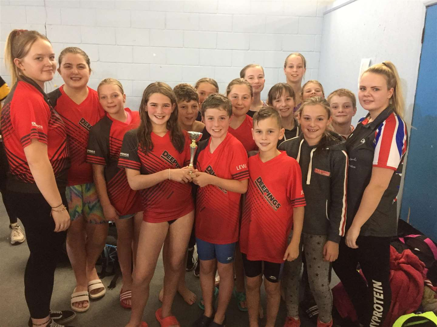 The Deepings Swimming Club team with their third place trophy in the Junior Fenland League B final. (4980621)