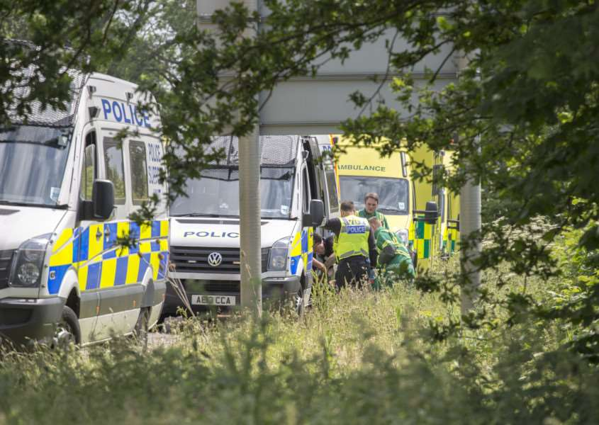 Police stopped a lorry full of 30 suspected illegal immigrants on the A1 south of Stamford. Photo: Lee Hellwing. EMN-150616-153728001