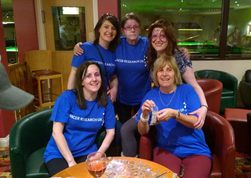 Event for Cancer Research UK at Bourne Snooker Centre. From left, Michelle Born, Marie Sutton, Ellen Faulkner, Sarah Taylor, Lesley Sutton. EMN-150104-101725001