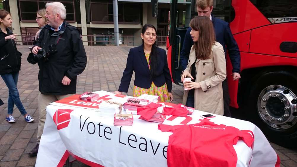 Priti Patel on the Brexit campaign stall