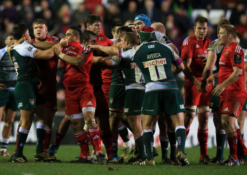 Tempers are lost between Leicester Tigers' and Munster's players during the European Champions Cup, pool four match at Welford Road, Leicester. Photo: Mike Egerton/PA Wire. EMN-151221-095429001