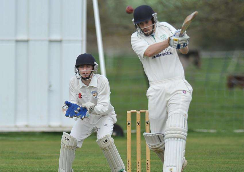Cricket action Ufford v Market Deeping - Ufford batsman Ross Keymer EMN-151204-205812009