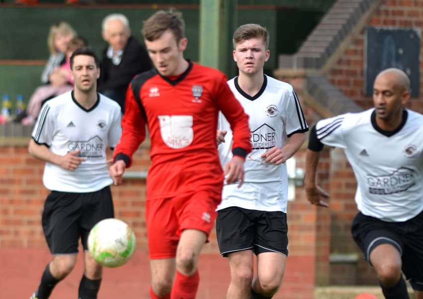 WE'LL MEET AGIN: Zak Munton, who was last season's top scorer with 25 goals, in action for Bourne against Bugbrooke St Michaels who are the opening-day opposition in UCL Division One on Sunday morning.