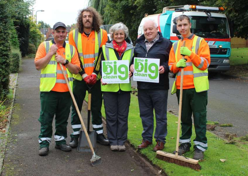 Coun Barry Dobson and village clean co-ordinator Laura Staines with a Big Clean Team in Thurlby, near Bourne. Photo supplied by South Kesteven District Council.
