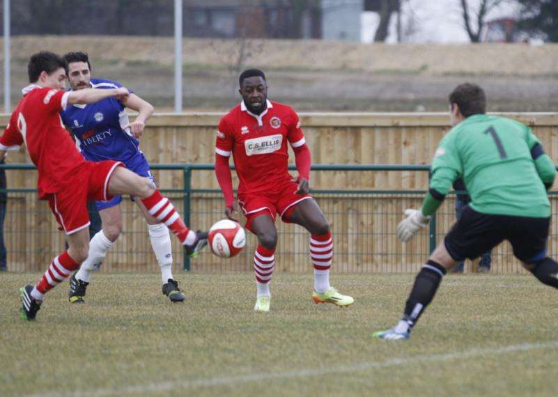 Stamford AFC v Ramsbottom United - Dan Clements scores. Photo: Geoff Atton EMN-150216-112000001