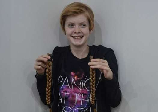 Maddy Sherfield had her hair cut off in aid of The Little Princess Trust. Submitted.