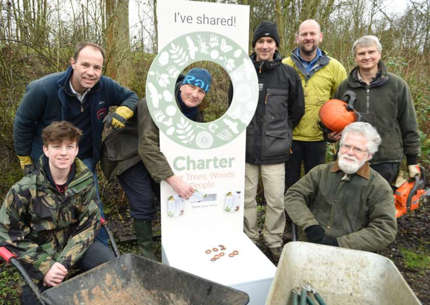Volunteers who maintain The Spinney at Little Bytham. Alex Livingston (kneeling) , Gavin Pye, Dr Patrick Candler (Chair of the Trust) Sam Adams, Richard Joyce, Simon Chater and Simon Garbutt (kneeling)