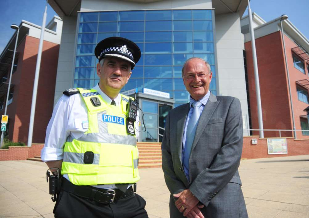 Lincolnshire Police chief constable Neil Rhodes with Police and Crime Commissioner Alan Hardwick.