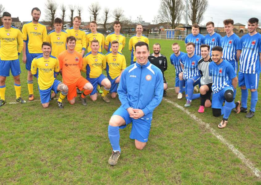 CHARITY MATCH: Jordan Effield (front) and footballers before a charity match at Sir Halley Stewart Playing Field, Spalding, for Macmillan Cancer Support. Photo by Tim Wilson. SG190317-144TW.