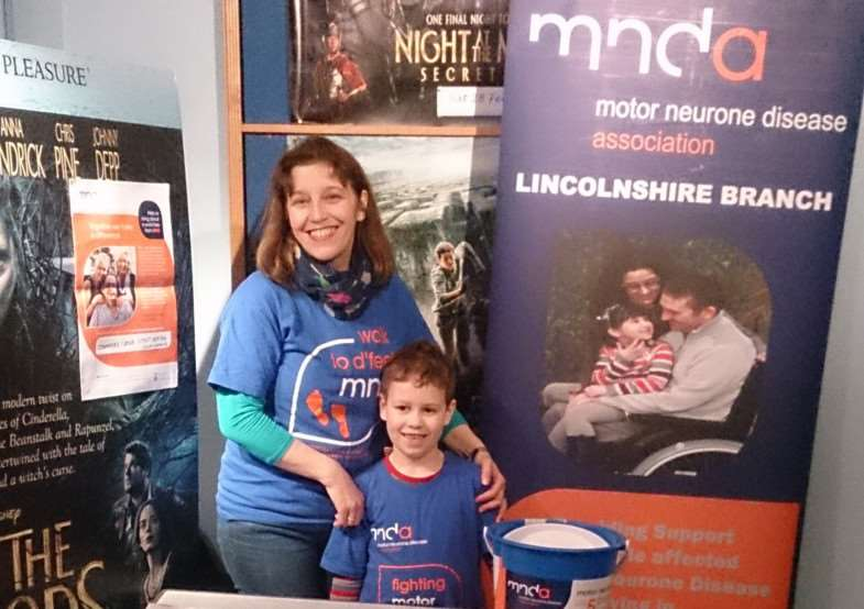 Heather and Rory Cullen at the MNDA stand at Stamford Arts Centre EMN-150503-113714001