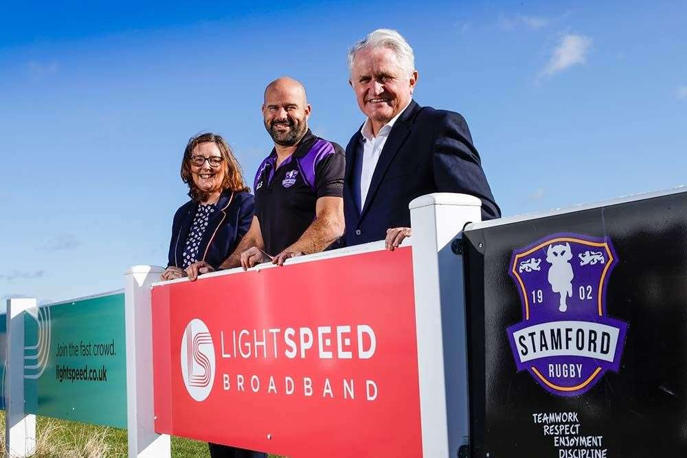Joanne King, Client Manager, LightSpeed Broadband, Auz Schwartz, Head Coach of Stamford Rugby Club and Steve Haines, General Manager of LightSpeed Broadband.  Photo: Lloyd Rogers