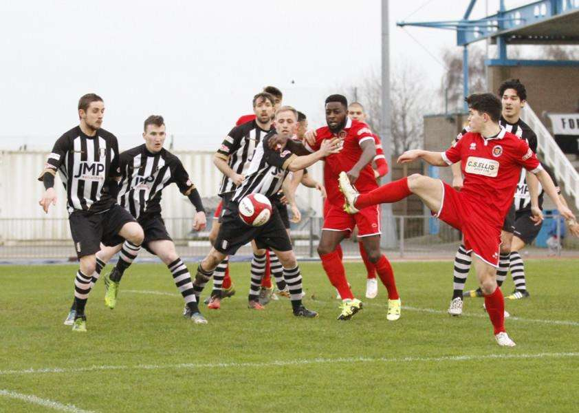 Action from Grantham Town against Stamford on Bank Holiday Monday. Photo: Geoff Atton EMN-151230-125319001