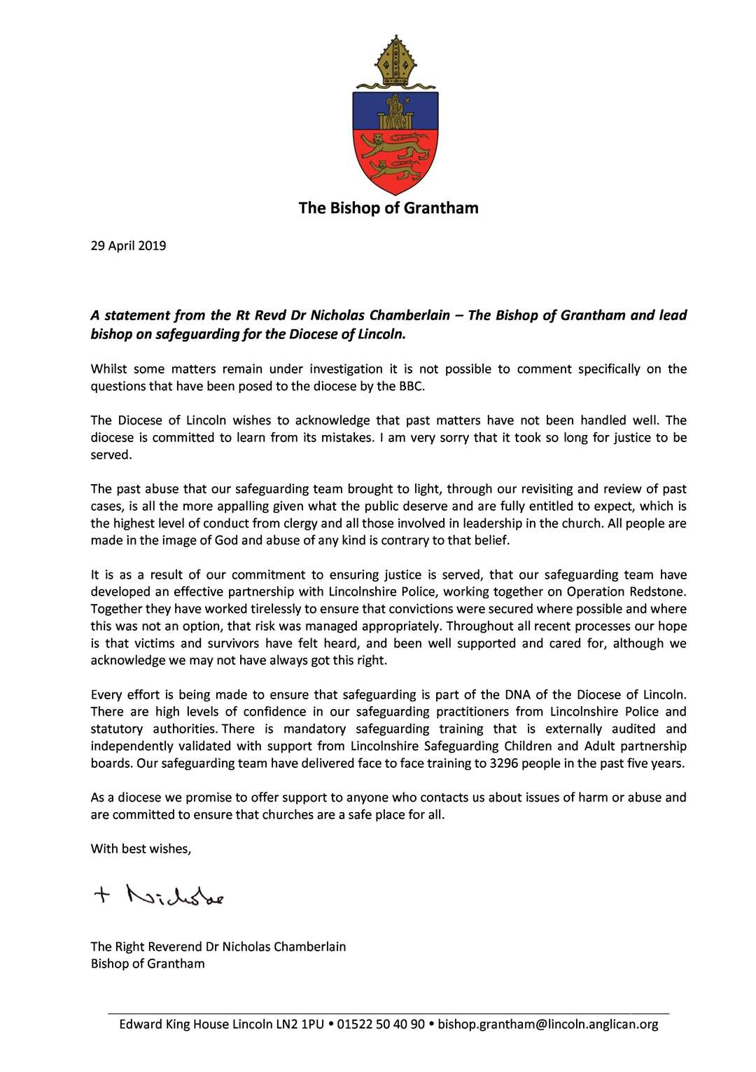 The statement from the Bishop of Grantham (9341500)
