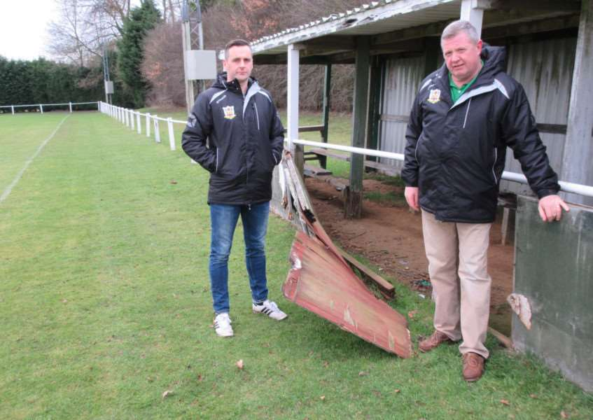 Cottesmore AFC chairman Steve Duffy and vice-chairman Rich Giblin inspect damage at their Westray Park ground EMN-170301-142108001
