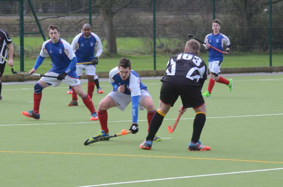 Hockey action from Bourne Deeping Dragons 1sts v Bishop Stortford at AMVC EMN-160901-192509009