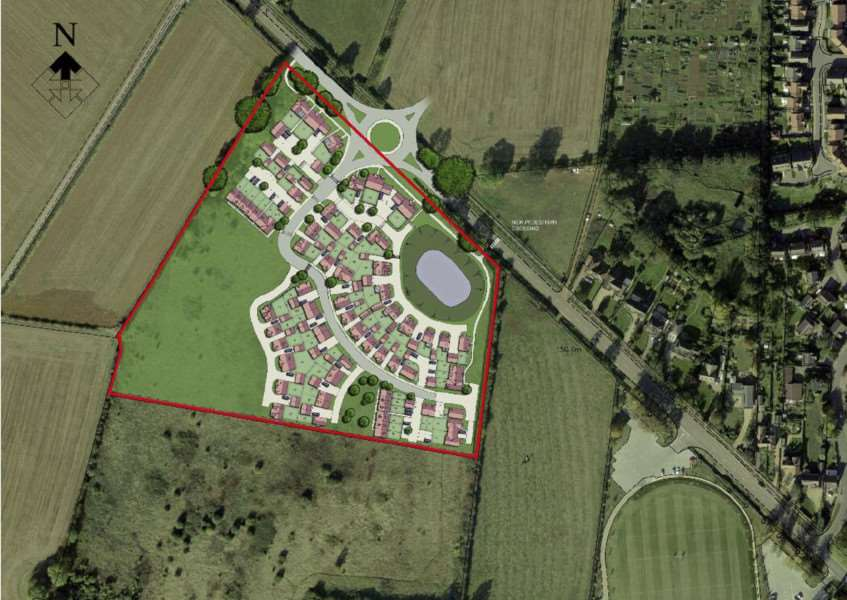 An indicative masterplan for Bloor Homes' proposed 75-home development in Leicester Road, Uppingham. EMN-150605-132605001