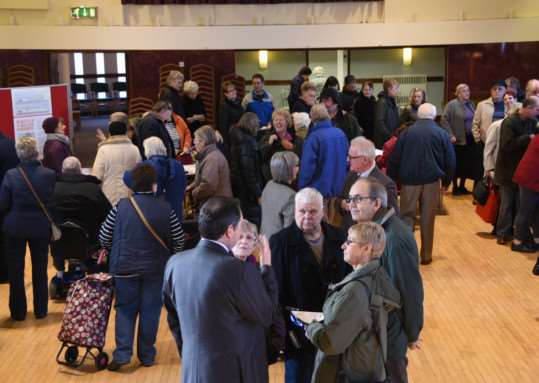 People view plans for a proposed Lidl store in Bourne at Bourne Corn Exchange. Photo: MSMP-08-01-15-dl003. EMN-150801-151117001