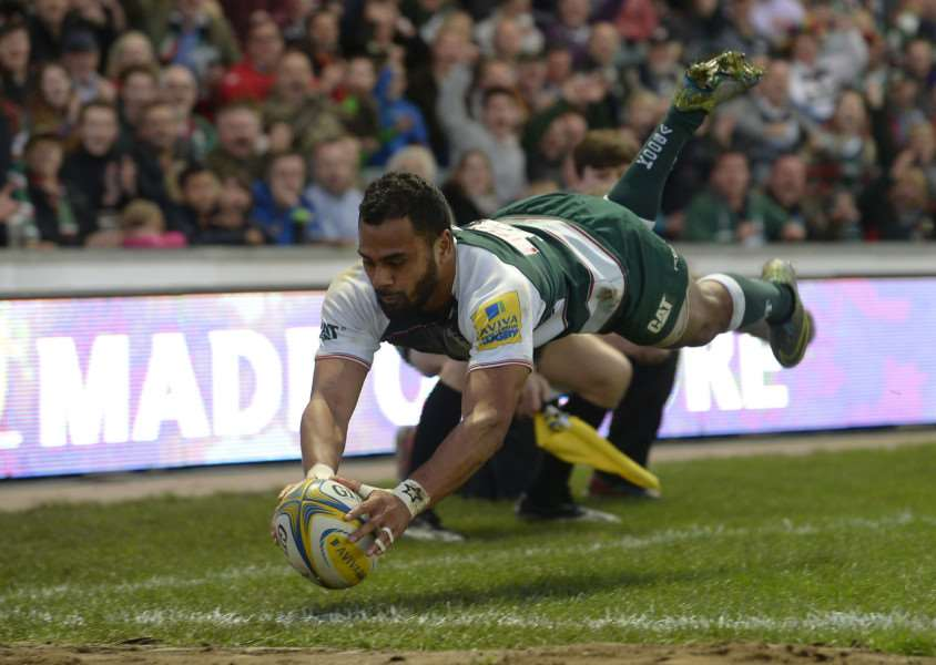 Leicester Tigers' Telusa Veainu dives in to score a try during the Aviva Premiership match at Welford Road. Photo: Joe Giddens/PA Wire. EMN-150311-090042001
