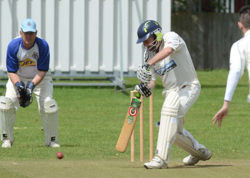 Peter Bibb batting for Whittlesey 2nds at Orton Park 2nds. Photo: David Lowndes.