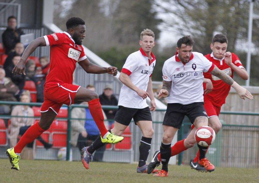 Action from Stamford AFC v Salford City. Photo: Geoff Atton EMN-161204-112019001