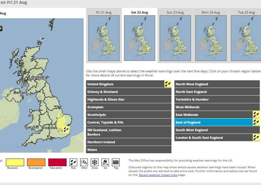The Met Office have issued a weather warning for heavy rain on Saturday