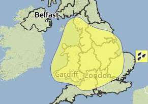 The warning area includes the East Midlands and parts of East Anglia