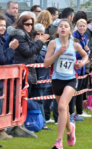 Bourne Town Harriers' Elin James (13) was fastest girl. Photos by Tim Wilson
