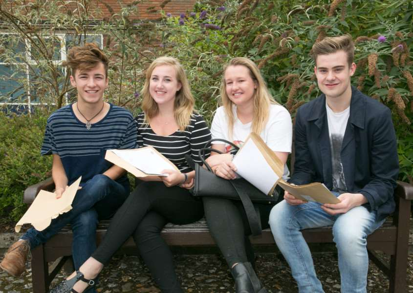 A- Level results from the Grange School. Students Harry Simmons, Chloe Bicknell, Libby Parker, Alex Wood