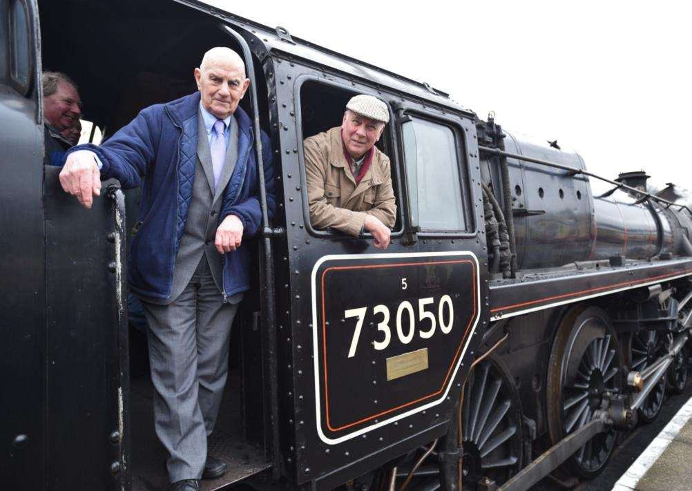 Steam Gala Day at Nene Valley Railway at Wansford Reunion trip for ex-railwaymen who worked at the New England Motive Power Depot - they all went for a trip on the NVR steam train. Charles Swift and Carl Lambert aboard the City of Peterborough locomotive EMN-150222-170518009