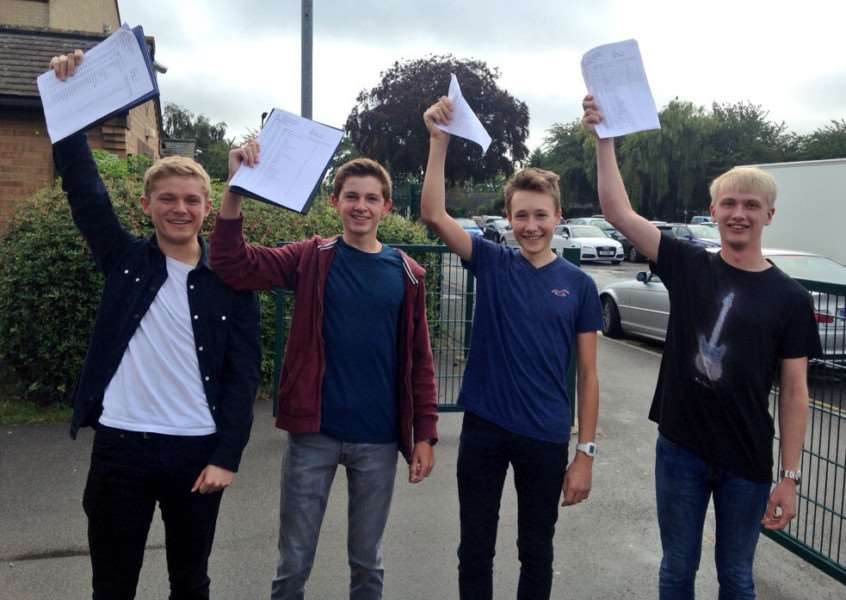 From left to right, Ben Jacklin, James Gregson, Jack Webster and Michael Sedgwick celebrate their GCSE results at The Deepings School EMN-150820-105359001