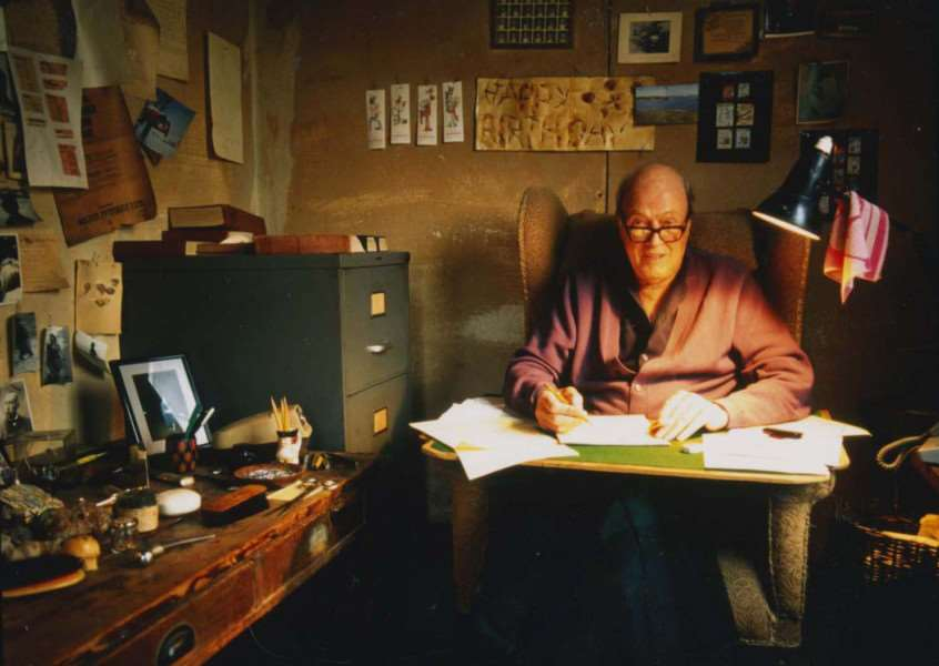 Roald Dahl at work in his famous writing hut
