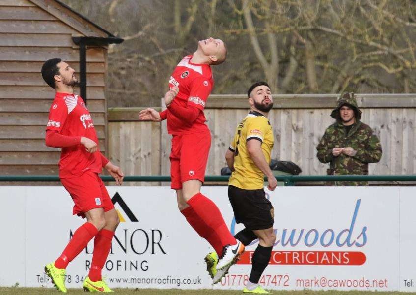 Action from Stamford AFC v Belper Town. Photo: Geoff Atton