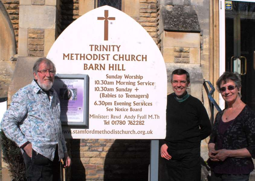 Part of the group hoping to set up a cafe that uses food that would otherwise be sent to landfill at Trinity Methodist Church in Stamford, from left, George Hetherington, the Rev Andy Fyall and Audrey Hensman. Photo: MSMP-22-04-15-am002 EMN-150422-164558001