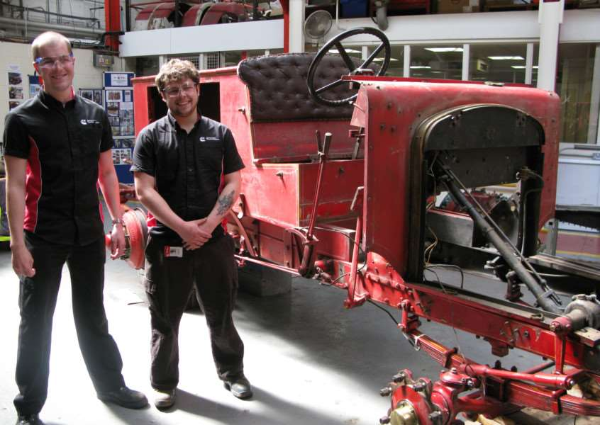 Cummins Generator Technologies apprentices working on a 1930s Merryweather fire engine belonging to Burghley House. Pictured: John Searle and Alex Rhodes. EMN-160429-120414001