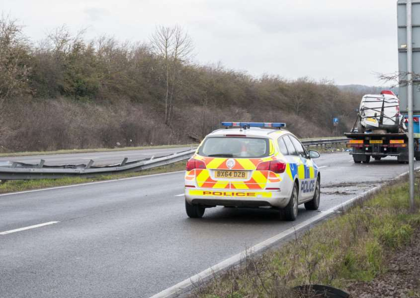 The scene of the crash on the A1 near Tickencote this morning. Photo: Lee Hellwing
