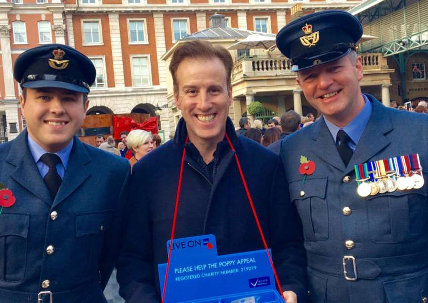 RAF Wittering personnel meet the stars of Strictly Come Dancing'Flt Lt Tom Cope, Anton Du Beke and WO Dave Scott EMN-160711-164820001