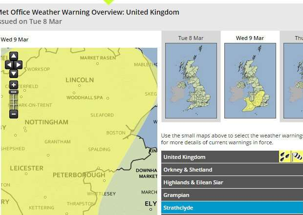 The Met Office have issued a yellow weather warning for rain in our region tomorrow