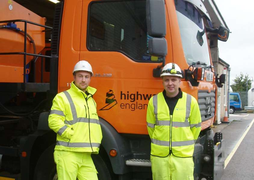 Gritter drivers Ben Jackson and Gareth Ray