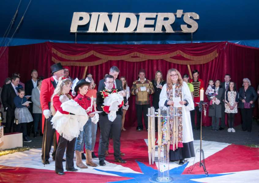 Christening of Eileen and George Pinder in the Pinder's Circus big top on Stamford Recreation Ground