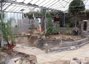 The new crocodile enclosure under construction at Bugtopia, Rutland Water. EMN-150331-154513001