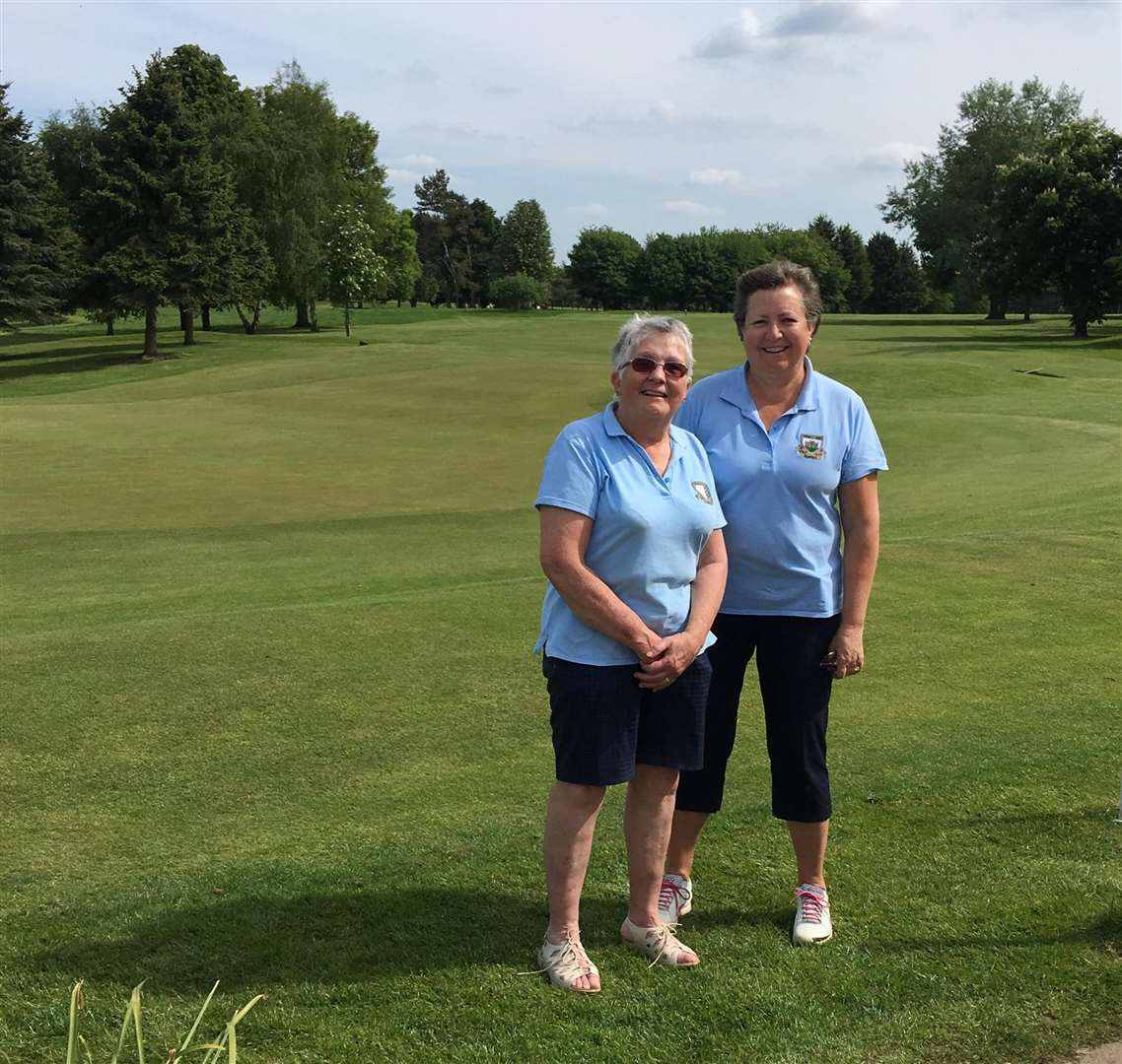 Burghley Park's Nicky Plumtree and Jane Saggers, who defeated Belton Park in round three of the Daily Mail Foursomes knockout match. (2211390)