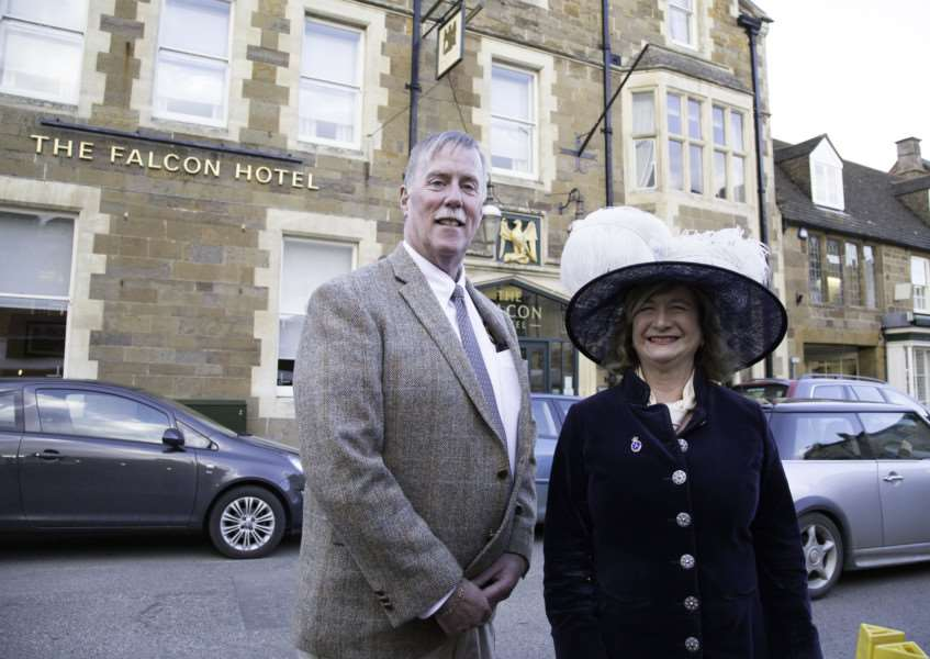 Sheriff Stephen Benard, from Rutland, Vermont, and High Sheriff of Rutland Dr Sarah Furness are pictured outside The Falcon Hotel in Uppingham