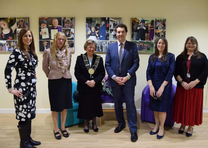 From left, Lisa Smith, SEND Manager, Grantham College; Linda Houtby, CEO, Grantham College, Jacky Smith, Mayor of Grantham, Edward Timpson, Minister for Children and Families, Therese Lord, Chair of Lincolnshire Parent Carer Form, Louise Cooper, joint Manager Day Break.