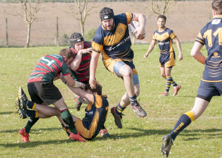 Action from Stamford College Old Boys v Bourne RUFC. Photo: Lee Hellwing