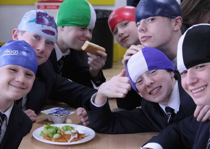 Wear a hat day at Uppingham Community College EMN-160330-101504001