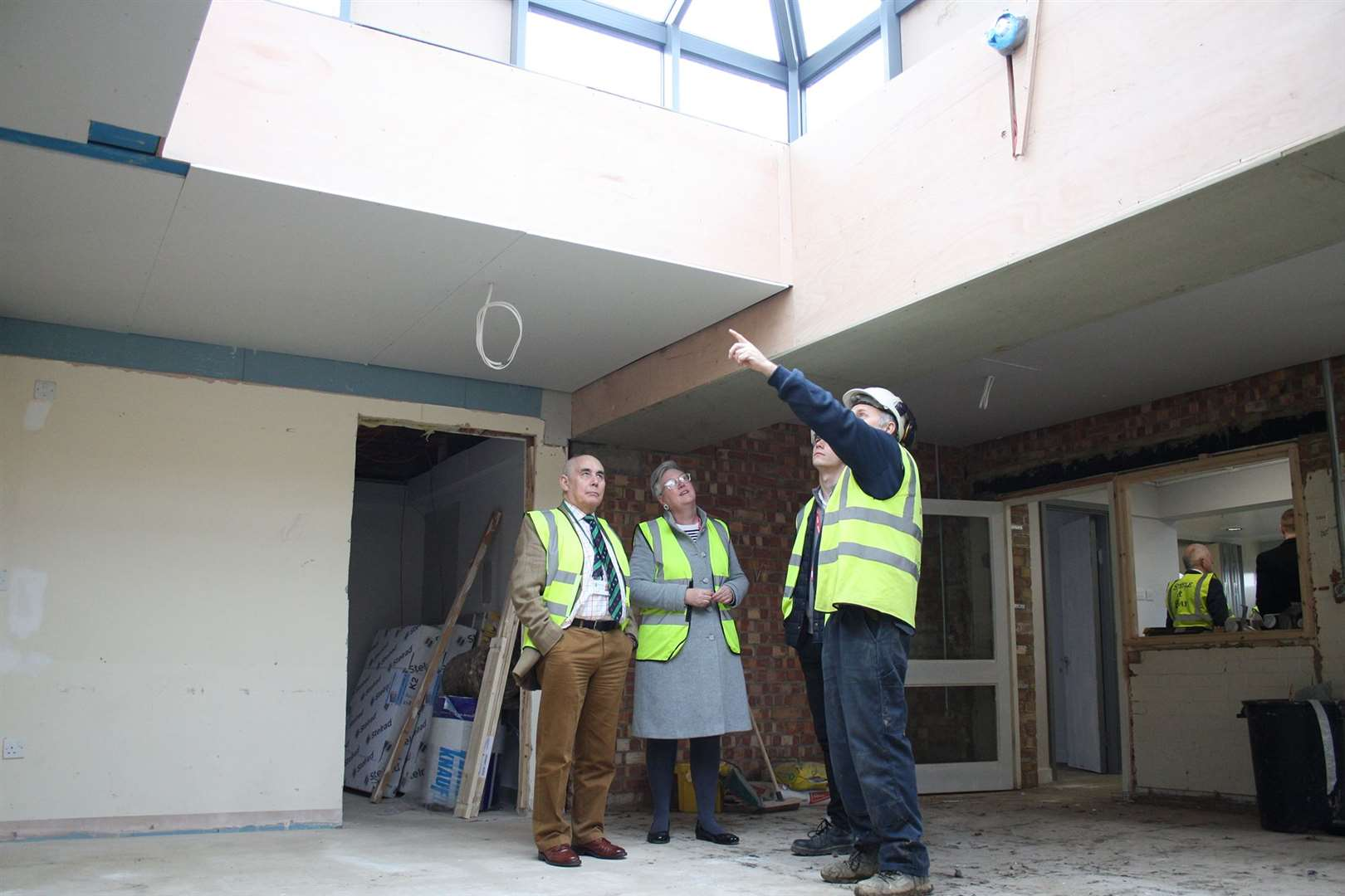 Councillor David Wilby, Rutland County Council, Cabinet Member for Education at Rutland County Council, reviews the newly installed roof light at the new SEND provision at Uppingham Community College