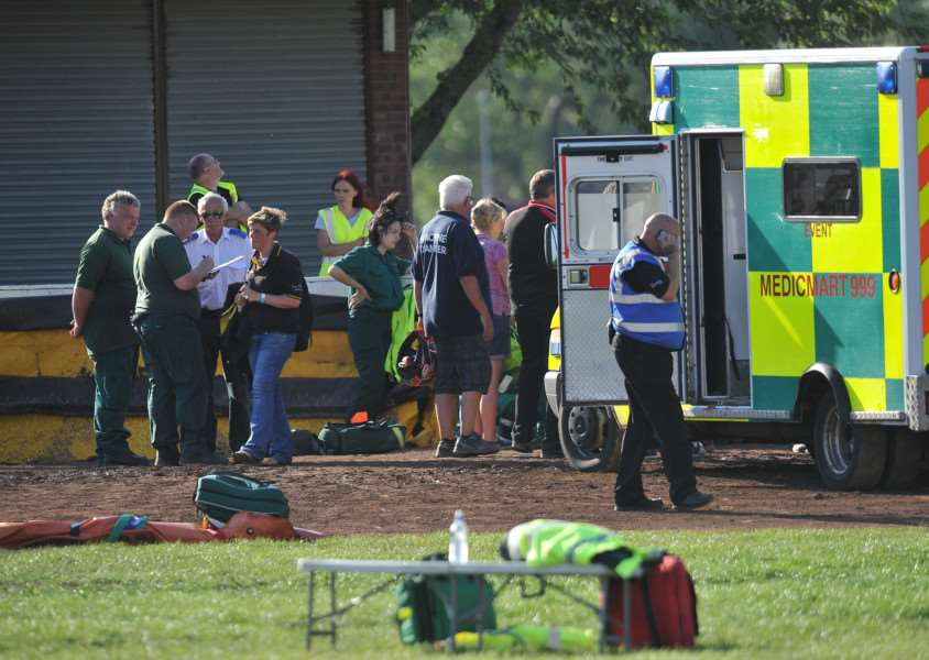 Emergency services at the scene of the speedway accident.